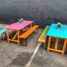 vintage table and benches
