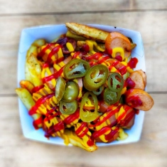 loaded fries and sausages