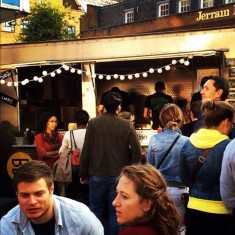 Street food truck with festoon lighting at private event