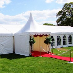 Outdoor summer wedding marquee
