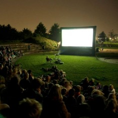 Outdoor cinema screen at night