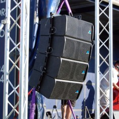 Large hanging speaker rig for festival or event