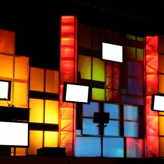 TV screen light art installation for event