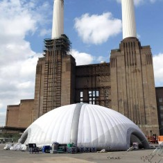 White inflatable tent outside battersea power station