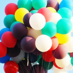 Huge bunch of colourful party balloons
