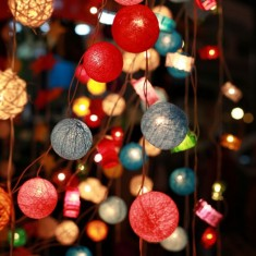 Colourful hanging string, fairy and festoon lights