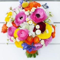 Colourful flower display in glass vase