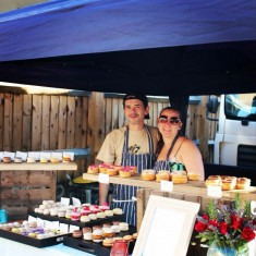 Patisserie and cake traders at London street food market