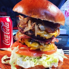 Street Food Double Stacked Cheese Burger