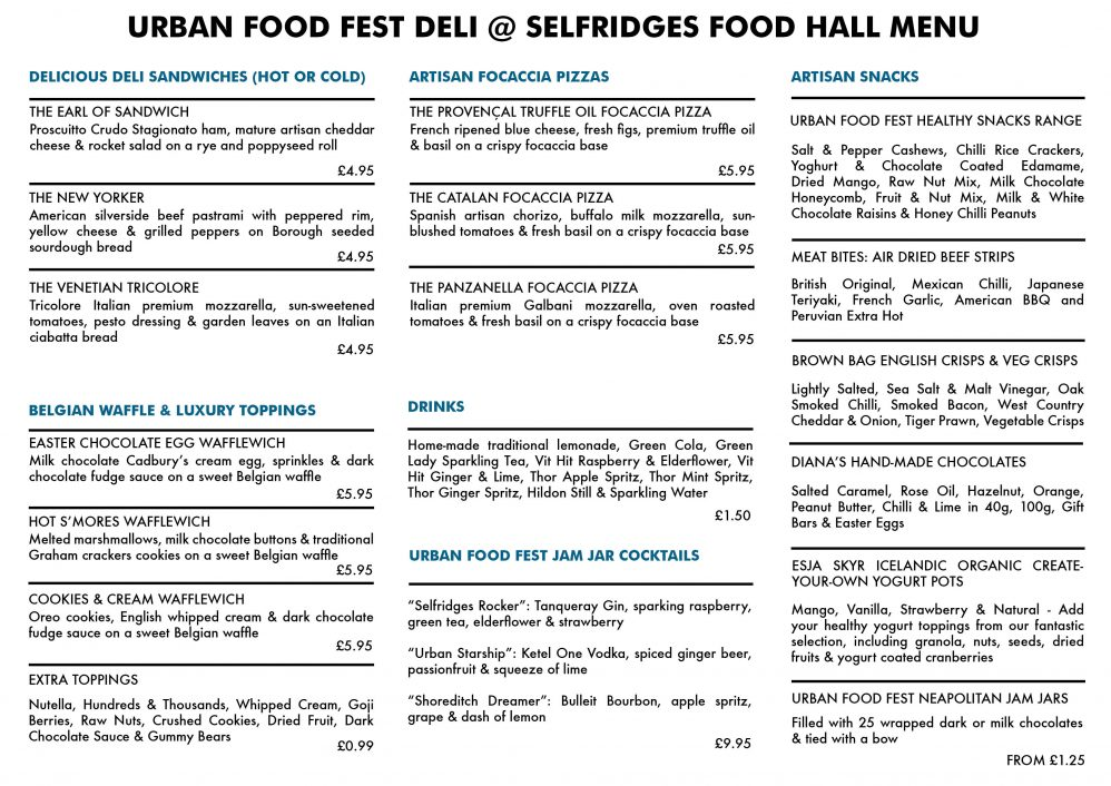 The urban food fest deli selfridges food hall london urban food famous fashionable selfridges with a superb location the dishes on offer are outstanding urban food fest have injected their flare and creativity negle Image collections